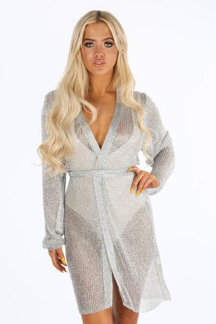 Metallic Knit Wrap Dress In Silver