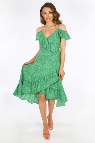 Green Polka Dot Print Cold Shoulder Wrap Dress