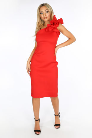 One Shoulder Ruffle Midi Dress In Red Neoprene