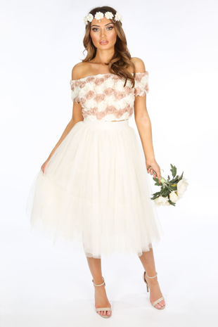 Midi Tulle Skirt In Cream