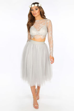 Midi Tulle Skirt In Grey