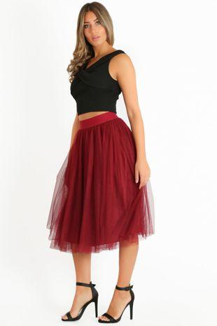 Midi Tulle Skirt In Burgundy