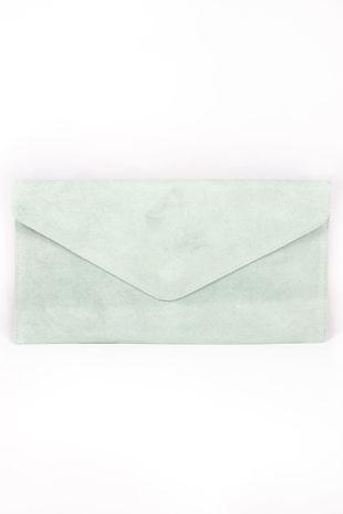 Mint Suede Envelope Clutch Bag