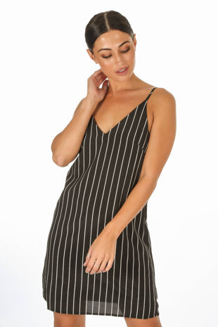Monochrome Striped Cami Dress In Black