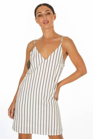 Monochrome Striped Cami Dress In White
