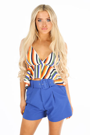 Multi Striped Peplum Cami Top