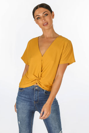 Mustard Knot Front Jersey Top