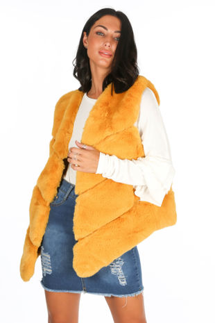 Mustard Luxury Faux Fur Gilet