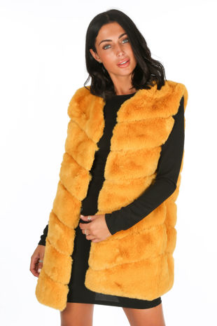 Mustard Luxury Long Faux Fur Gilet