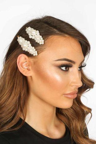 Nancy Large Pearl Cluster Hair Slides