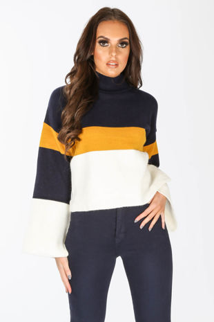 Navy Block Print Jumper