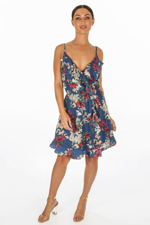 Navy Floral Printed Strappy Wrap Dress