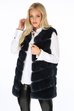 Navy Luxury Long Faux Fur Gilet