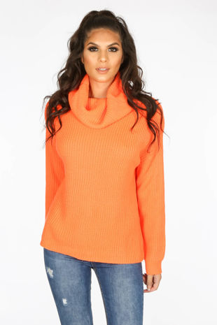 Neon Orange Oversized Jumper