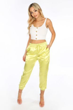 Neon Lime Satin Joggers With Elasticated Cuff