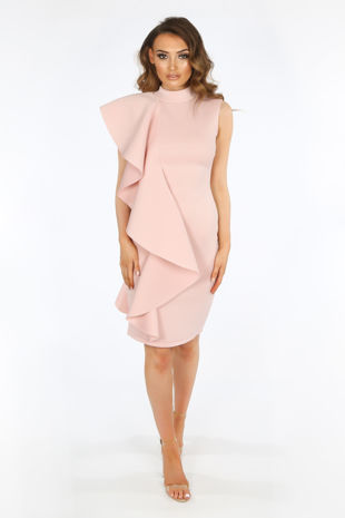Pink Neoprene Frill Shoulder Midi Dress