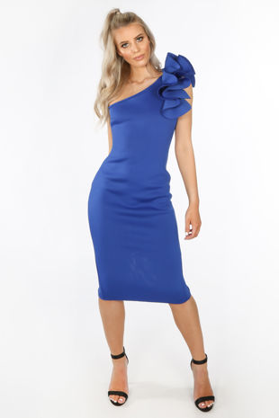 Cobalt One Shoulder Ruffle Midi Dress in Neoprene