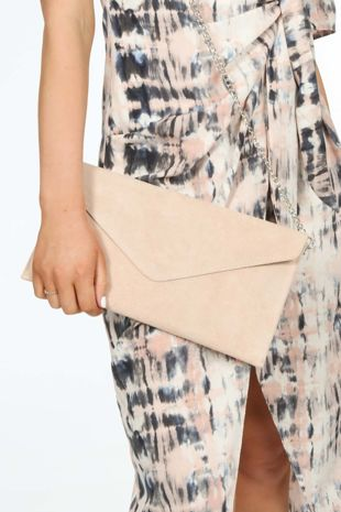 Nude Pink Suede Envelope Clutch Bag