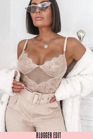 Nude Fishnet & Contrast Lace Bodysuit