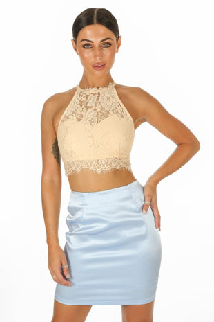 Nude High Neck Eyelash Lace Crop Top