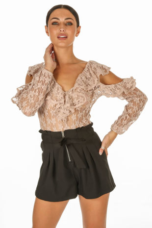 Nude Long Sleeve Sheer Frill Lace Bodysuit