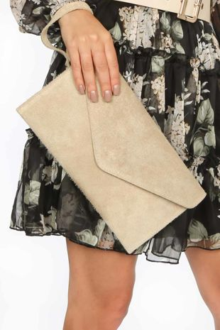 Beige Suede Envelope Clutch Bag