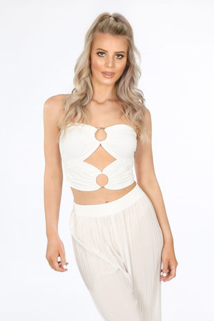 White O-Ring Slinky Bandeau Crop Top