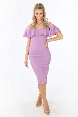 Frill Bardot Midi Dress In Lilac
