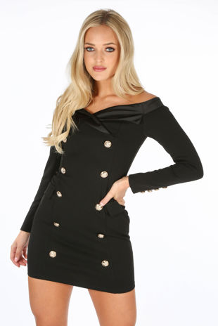 Long Sleeve Bardot Mini Blazer Dress