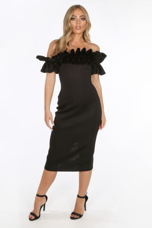 Black Neoprene Ruffle Bardot Midi Dress