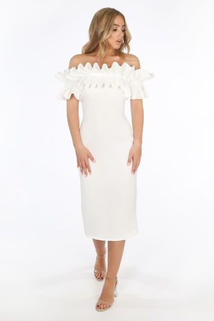 White Neoprene Ruffle Bardot Midi Dress