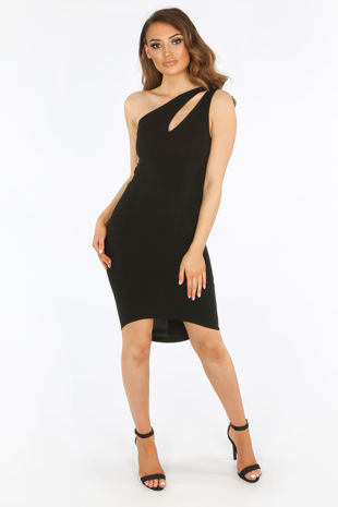 One Shoulder Cut Out Bodycon Dress In Black