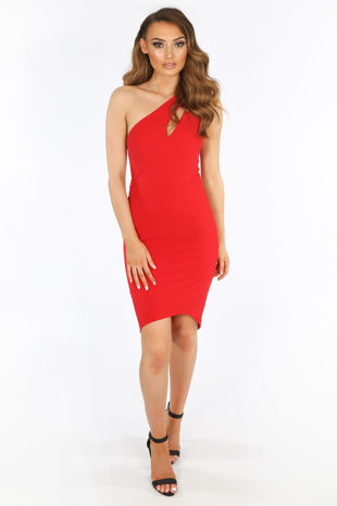 One Shoulder Cut Out Bodycon Dress In Red