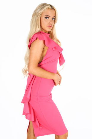 One Shoulder Frill Midi Dress In Fuchsia
