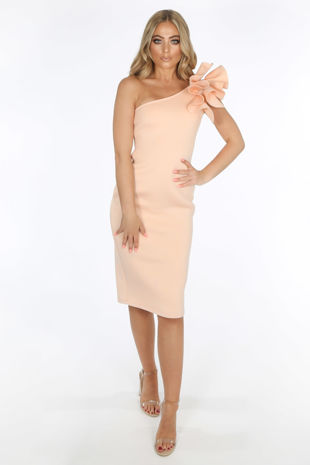 Light Pink One Shoulder Ruffle Midi Dress in Neoprene