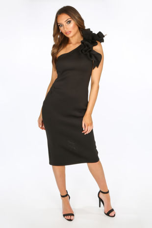 One Shoulder Ruffle Midi Dress In Black Neoprene
