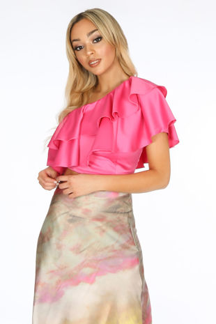 Fuchsia One Shoulder Frill Crop Top