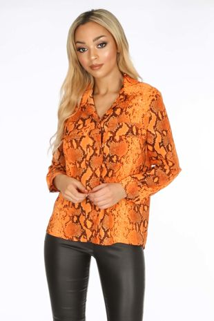 Orange Snake Print Blouse