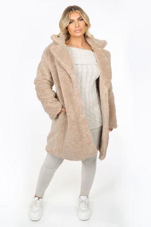 Beige Over-Sized Borg Teddy Coat