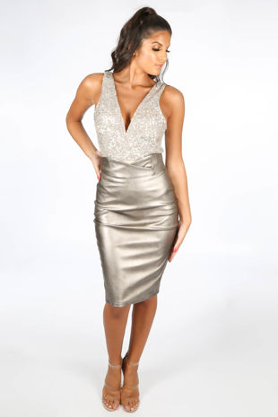 Bronze Metallic High Waisted PU Midi Skirt