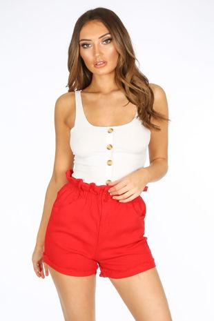 Red Paperbag Denim Shorts