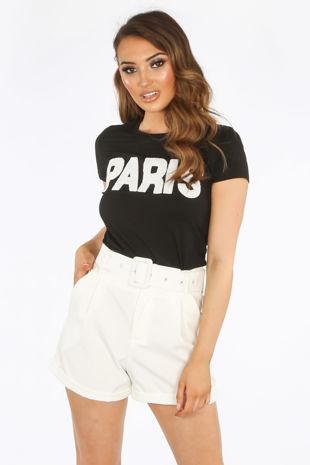 Monochrome Paris Slogan T-Shirt