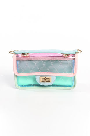Pastel Perspex Shoulder Bag In Pink