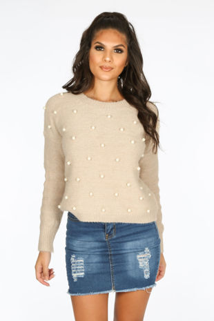 Pearl Embellished Jumper In Beige