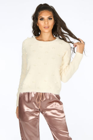 Pearl Embellished Jumper In Cream