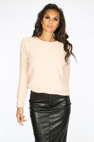 Pearl Embellished Jumper In Pink