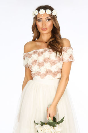 Chiffon Rose Applique Crop Top In Nude