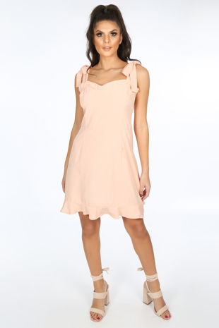 Pink Pinafore Dress With Frill Hem