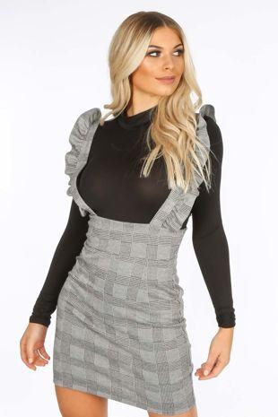 Plaid Print Pinafore Dress