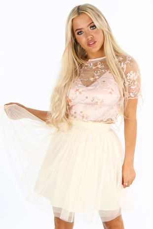 Pink Embroidered Short Sleeve Crop Top